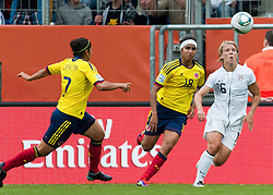 02.07.2011, Rhein-Neckar-Arena, Sinsheim, GER, FIFA Women Worldcup 2011, GRUPPE C, USA (USA) vs. Kolumbien (COL) , im Bild vl. Catalina USME (COL #7, Independiente Medellin), Katerin CASTRO (COL #18, Estudiantes), Lori LINDSEY (USA #16, Philadelphia Independence)  // during the FIFA Women Worldcup 2011, Pool C, USA vs. Columbia on 2011/07/02, Rhein-Neckar-Arena, Sinsheim, Germany. EXPA Pictures © 2011, PhotoCredit: EXPA/ nph/  Roth       ****** out of GER / CRO  / BEL ******