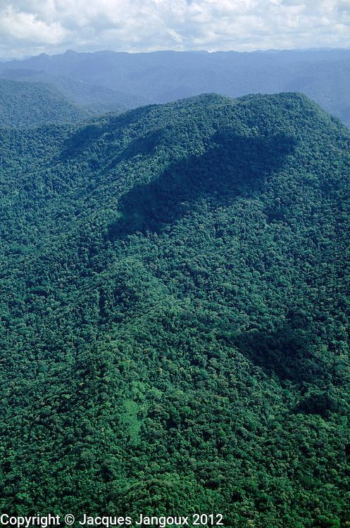 Aerial of Maigualida Mountains (Sierra de Maigualida) granitic mountain range (unlike the tepuis, sedimentary sandstone table mountains that surround it) covered with tropical rainforest and montane rainforest, Guiana Highlands, Guiana Shield, Amazonas State, Venezuela..