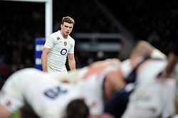 George Ford of England watches a scrum - Photo mandatory by-line: Patrick Khachfe/JMP - Mobile: 07966 386802 14/03/2015 - SPORT - RUGBY UNION - London - Twickenham Stadium - England v Scotland - Six Nations Championship