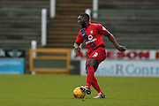 York City defender Femi Illesami  during the Sky Bet League 2 match between Yeovil Town and York City at Huish Park, Yeovil, England on 2 January 2016. Photo by Simon Davies.