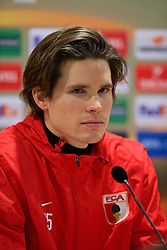 AUGSBURG, GERMANY - Wednesday, February 17, 2016: FC Augsburg's goalkeeper Marwin Hitz during a press conference ahead of the UEFA Europa League Round of 32 1st Leg match against Liverpool at the Augsburg Arena. (Pic by David Rawcliffe/Propaganda)