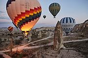 Cappadocia, Turkey, aerial view of hot air balloon