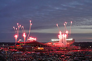 Jan 20, 2019; Kansas City, MO, USA; General overall view of fireworks at Arrowhead Stadium during the playing of the national anthem before the AFC Championship game between the New England Patriots and Kansas City Chiefs. The Patriots defeated the Chiefs 37-31 in overtime to advance to their fifth Super Bowl in eight seasons. (Robin Alam/Image of Sport)
