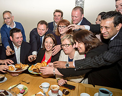 Scottish Labour leader Kezia Dugdale was joined by politicians from all sides, including Joanna Cherry from the SNP, Christine Jardine from the Liberal Democrats and the Tories' Miles Briggs at the campaign truce at the Serenity Cafe in Edinburgh, in memory of the murdered Labour MP Jo Cox. <br /> <br /> &copy; Dave Johnston/ EEm