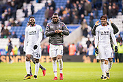 Crystal Palace #11 Wilfried Zaha, Crystal Palace #17 Christian Benteke, Crystal Palace #26 Bakary Sako all goalscorer celebrate after the   Premier League match between Leicester City and Crystal Palace at the King Power Stadium, Leicester, England on 16 December 2017. Photo by Sebastian Frej.