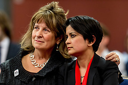 © Licensed to London News Pictures. 23/04/2015. Central Hall Westminster, London, UK. Baroness Helena Kennedy QC and Shami Charkrabarti attending at the Vote For Justice Rally, organised by the LCCSA, (London Criminal Courts Solicitor's Association). Photo credit : David Tett/LNP