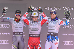 16.03.2019, Soldeu, AND, FIS Weltcup Ski Alpin, Riesenslalom, Herren, Siegerehrung, Weltcupwertung, im Bild Henrink Kristoffersen (NOR, dritter Platz Gesamt Welt Cup, zweiter Platz Slalom und Riesen Slalom Weltcup) Marcel Hirscher (AUT, Sieger Slalom, Riesen Slalom und Gesamt Weltcup) Alexis Pinturault (FRA zweiter Platz Gesamtweltcup,erster Platz Kobination Weltcup und dritter Platz Riesenslalom Weltcup) // Henrink Kristoffersen (NOR, dritter Platz Gesamt Welt Cup, zweiter Platz Slalom und Riesen Slalom Weltcup) Marcel Hirscher (AUT, Sieger Slalom, Riesen Slalom und Gesamt Weltcup), Alexis Pinturault (FRA zweiter Platz Gesamtweltcup,erster Platz Kobination We during the winner ceremony for the men's Giant Slalom Worldcup rating of FIS Ski Alpine World Cup finals. Soldeu, Andorra on 2019/03/16. EXPA Pictures © 2019, PhotoCredit: EXPA/ Erich Spiess