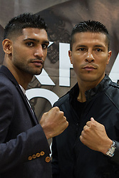 © Licensed to London News Pictures . 25/04/2013 . Sheffield , UK . AMIR KHAN and JULIO DIAZ . Final press conference in advance of Amir Khan vs Julio Diaz boxing bout , today (Thursday 25th April 2013) at the Mercure Hotel in Sheffield City Centre ahead of the fight on April 27th at the Motorpoint Arena in Sheffield . Photo credit : Joel Goodman/LNP