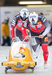 13.02.2016, Olympiaeisbahn Igls, Innsbruck, AUT, FIBT WM, Bob und Skeleton, Zweierbob Herren, 1. Lauf, im Bild Beat Hefti und Alex Baumann (SUI) // Beat Hefti and Alex Baumann of Switzerland competes during two men Bobsleigh 1st run of FIBT Bobsleigh and Skeleton World Championships at the Olympiaeisbahn Igls in Innsbruck, Austria on 2016/02/13. EXPA Pictures © 2016, PhotoCredit: EXPA/ Johann Groder