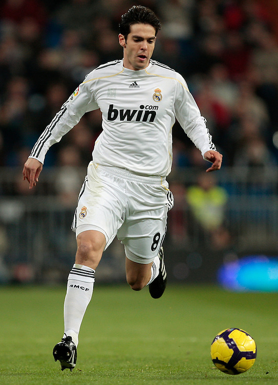 Real Madrid's Ricardo Izecson 'Kaka' of Brazil in action during a Spanish La Liga soccer match against Malaga at the Santiago Bernabeu stadium in Madrid, Sunday, Jan. 24, 2010.