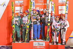 25.11.2017, Nordic Arena, Ruka, FIN, FIS Weltcup Ski Sprung, Nordic Opening, Kuusamo, Teambewerb, im Bild Deutschland, Norwegen und Japan am Podium // Germany, Norway and Japan on the podium during the Team Event of the FIS Skijumping World Cup of the Nordic Opening at the Nordic Arena in Ruka, Finland on 2017/11/25. EXPA Pictures © 2017, PhotoCredit: EXPA/ JFK