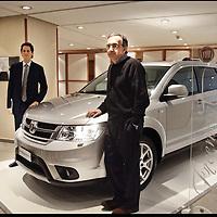 nella fotografia: il presidente di Fiat John Elkann e Sergio Marchionne Amministratore delegato di Fiat e di Chrysler posano accanto alla nuova Fiat Freemont, il primo Suv di casa Fiat..Torino, 30 marzo 2011, assemblea degli azionisti della Fiat al Lingotto.