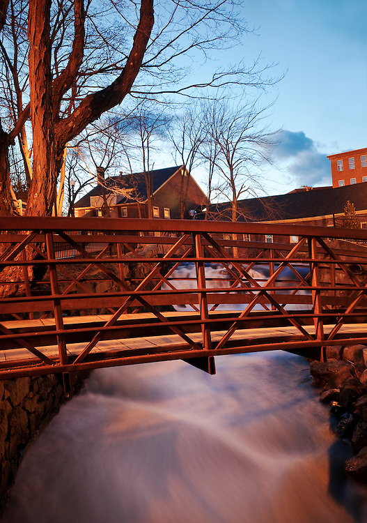 A foot bridge over the Powow River in Amesbury, Massachusetts.