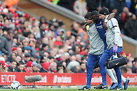 Football - 2018 / 2019 Premier League - Liverpool vs. Chelsea<br /> <br /> Antonio Rudiger of Chelsea leaves the pitch following injury, at Anfield.<br /> <br /> COLORSPORT/PAUL GREENWOOD