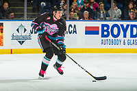 KELOWNA, CANADA - NOVEMBER 3:  Dalton Gally #3 of the Kelowna Rockets skates with the puck against the Brandon Wheat Kings on November 3, 2018 at Prospera Place in Kelowna, British Columbia, Canada.  (Photo by Marissa Baecker/Shoot the Breeze)