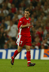 CARDIFF, WALES - Wednesday, September 10, 2003: Wales' Jason Koumas walks off after being sent off against Finland during the Euro 2004 qualifying match at the Millennium Stadium.. (Photo by David Rawcliffe/Propaganda)