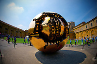 ROME, ITALY - JUNE 03: Illustration of Rome; Italy on June 03, 2012 The treasures of the Vatican .The treasures of the Vatican. Pomodoro's Sphere..Sphere Within Sphere (Sfera con Sfera) is a bronze sculpture, by Italian sculptor, Arnaldo Pomodoro.?Versions of the sculpture can be seen in the Vatican Museums and the Palazzo della Farnesina in Rome, Trinity College Dublin, the United Nations Headquarters in New York, the Hirshhorn Museum and Sculpture Garden in Washington D.C.,  Christian Theological Seminary in Indianapolis, the Columbus Museum of Art in Columbus, Ohio, the de Young Museum in San Francisco, Tehran Museum of Contemporary Art in Tehran, the Des Moines Art Center in Des Moines, the Hakone Open-Air Museum of Japan, the University of California, Berkeley and the Tel aviv University in Israel.?Pomodoro designed a controversial fiberglass crucifix for the Cathedral of St. John the Evangelist in Milwaukee, Wisconsin. The piece is topped with a fourteen foot in diameter crown of thorns which hovers over the figure of Christ.