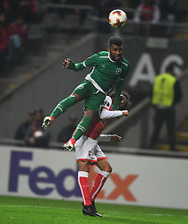 BRAGA, Oct. 20, 2017  Fabio Martins(bottom) of Braga vies for the ball during the Europa League soccer match between SC Braga and PFC Ludogorets 1945 at the Braga Municipal Stadium in Braga, Portugal, on Oct. 19, 2017. (Credit Image: © Zhang Liyun/Xinhua via ZUMA Wire)