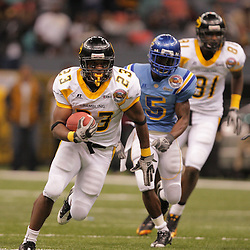 2008 November, 29: Grambling State running back Frank Warren (23) runs away from Southern University defensive back Glenn Bell (5) on his way to a touchdown during a 29-14 win by Grambling State over Southern University during the 35th annual State Farm Bayou Classic at the Louisiana Superdome in New Orleans, LA.  .