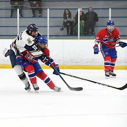 TORONTO, ON - JANUARY 5: Dante Spagnuolo #15 of the Toronto Patriots battles for control with Eric Ciccolini #19 of the Toronto Jr. Canadiens in the third period on January 5, 2019 at Westwood Arena in Toronto, Ontario, Canada.<br /> (Photo by Andy Corneau / OJHL Images)