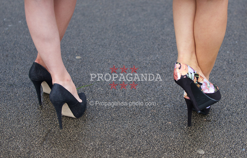 LIVERPOOL, ENGLAND - Friday, April 4, 2014: Shoes during Ladies' Day on Day Two of the Aintree Grand National Festival at Aintree Racecourse. (Pic by David Rawcliffe/Propaganda)