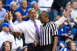 LSU head coach Johnny Jones disagrees with the technical that was called for hanging on the rim in the second half. <br /> <br /> The University of Kentucky hosted the LSU Tigers, Saturday, March 05, 2016 at Rupp Arena in Lexington .