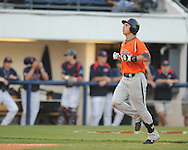 Auburn's Brian Fletcher (1) hits a three run home run in the third inning vs. Mississippi during a college baseball in Oxford, Miss. on Friday, May 21, 2010. (AP Photo/Oxford Eagle, Bruce Newman)