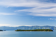 Lake Pend Oreille from Hope, Idaho.  Monarch  Mountains in foreground.  This location is near the inlet of the Clark Fork River which was the area of the ice dam that failed by pressure from the waters of Glacial Lake Missoula.