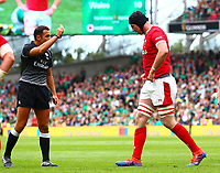 Rugby Union - 2019 pre-Rugby World Cup warm-up (Guinness Summer Series) - Ireland vs. Wales<br /> <br /> Adam Beard (Wales) is yellow carded by match referee, Mathieu Raynal at The Aviva Stadium.<br /> <br /> COLORSPORT/KEN SUTTON