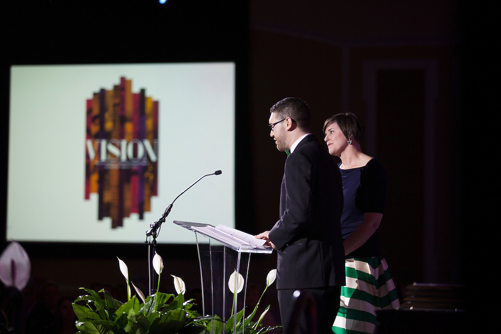Jesse Neader, Coordinator for Student Organizations, and Jenny Hall-Jones, Dean of Students and Interim Vice President for Student Affairs, speak at Ohio University's 33rd Annual Leadership Awards Gala in Baker Ballroom on April 7, 2016. ©Ohio University/ Photo by Kaitlin Owens