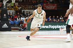 November 9, 2017 - Assago, Milan, Italy - Keving Pangos (#3 Zalgiris Kaunas) drives to the basket during a game of Turkish Airlines EuroLeague basketball between  AX Armani Exchange Milan vs Zalgiris Kaunas at Mediolanum Forum on November 9, 2017 in Milan, Italy. (Credit Image: © Roberto Finizio/NurPhoto via ZUMA Press)
