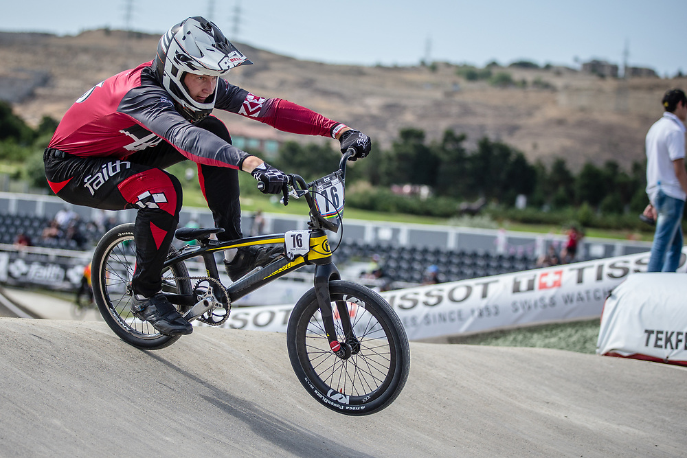 Men Elite #76 (BABRIS Helvijs) LAT the 2018 UCI BMX World Championships in Baku, Azerbaijan.