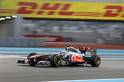 13.11.2011, Yas-Marina-Circuit, Abu Dhabi, UAE, Grosser Preis von Abu Dhabi, im Bild DHL Branding - Lewis Hamilton (GBR), McLaren F1 Team  // during the Formula One Championships 2011 Large price of Abu Dhabi held at the Yas-Marina-Circuit, 2011/11/13. EXPA Pictures © 2011, PhotoCredit: EXPA/ nph/ Dieter Mathis..***** ATTENTION - OUT OF GER, CRO *****