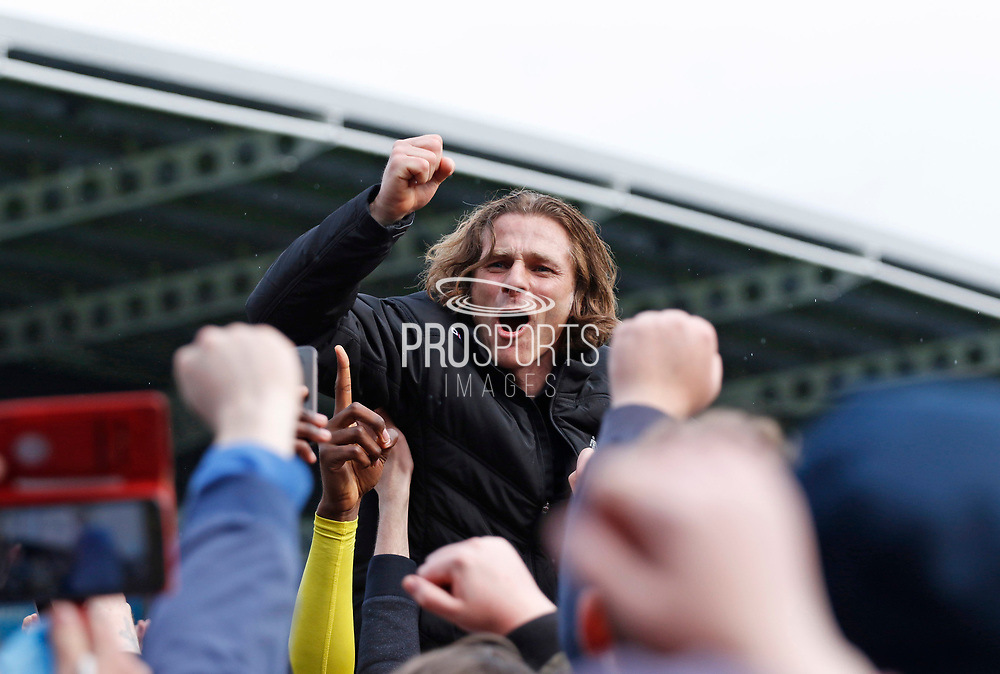 Wycombe Wanderers manager Gareth Ainsworth celebrating promotion  during the EFL Sky Bet League 2 match between Chesterfield and Wycombe Wanderers at the b2net stadium, Chesterfield, England on 28 April 2018. Picture by Paul Thompson.