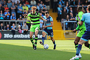 Forest Green Rovers Mark Roberts(21) and Wycombe Wanderers Luke O'Nien(17) battle for the ball during the EFL Sky Bet League 2 match between Wycombe Wanderers and Forest Green Rovers at Adams Park, High Wycombe, England on 2 September 2017. Photo by Shane Healey.