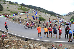 The breakaway featuring Jetse Bol (NED), Polka Dot Jersey Angel Madrazo Ruiz (Spa) Burgos-BH and Jesus Herrada (ESP) Cofidis still in the lead on the final Cat 1 climb up to Observatorio Astrofisico de Javalambre during Stage 5 of La Vuelta 2019 running 170.7km from L'Eliana to Observatorio Astrofisico de Javalambre, Spain. 28th August 2019.<br /> Picture: Ann Clarke | Cyclefile<br /> <br /> All photos usage must carry mandatory copyright credit (© Cyclefile | Ann Clarke)