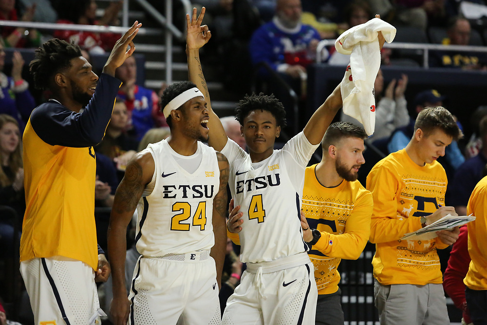 December 22, 2017 - Johnson City, Tennessee - Freedom Hall: ETSU guard Jermaine Long (24), ETSU guard Jason Williams (4)<br /> <br /> Image Credit: Dakota Hamilton/ETSU