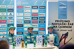 Spela Rogelj, Maja Vtic and Katja Pozun during press conference before FIS Ski World Cup Ladies competition in Ljubno 2018 on January 24, 2018 in BTC, Ljubljana, Slovenia. Photo by Urban Urbanc / Sportida