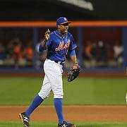 Curtis Granderson, New York Mets, celebrates a Mets win during the New York Mets Vs New York Yankees MLB regular season baseball game at Citi Field, Queens, New York. USA. 18th September 2015. Photo Tim Clayton