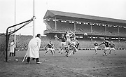 Galway goalie J.Geraghty blocks goal by Kerry's M.O'Dwyer during the All Ireland Senior Gaelic Football Final Kerry v. Galway in Croke Park on the 26th September 1965. Galway 0-12 Kerry 0-09.