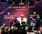 1/29/13 New Orleans LA.-Baltmore Ravens, MLB Ray Lewis speaks to the world press at Super Bowl XLV11 Media Day at the the Mercedes Benz Super Dome for the NFC champion San Francisco 49ers's and the AFC Champions  Baltimore Ravens  prior to Super Bowl XLV11 in New Orleans. Photo©Suzi Altman