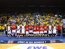 12.04.2015, Brose Arena, Bamberg, GER, Beko Basketball BL, Brose Baskets Bamberg vs EWE Baskets Oldenburg, Top Four 2015, Finale, im Bild die 2 Plazierten brose baskets Bamberg // during the Beko Basketball Bundes league TOP FOUR 2015 final match between Brose Baskets Bamberg and EWE Baskets Oldenburg at the Brose Arena in Bamberg, Germany on 2015/04/12. EXPA Pictures © 2015, PhotoCredit: EXPA/ Eibner-Pressefoto/ Langer<br /> <br /> *****ATTENTION - OUT of GER*****