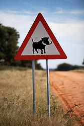 NAMIBIA GROOTFONTEIN 2MAY14 - Road sign warning of Warthogs at the Waterberg Plateau National Park near Grootfontein, Namibia.<br /> <br /> <br /> <br /> jre/Photo by Jiri Rezac<br /> <br /> <br /> <br /> © Jiri Rezac 2014
