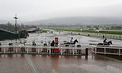 Cepage and Casablanca Mix make their way out for the Caspian Caviar Gold Cup Handicap Chase during day two of the International Meeting at Cheltenham Racecourse.