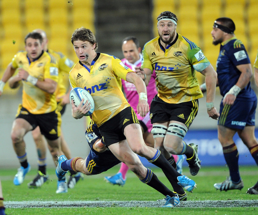 Hurricanes' Beauden Barrett against the Highlanders in the Super Rugby match at Westpac Stadium, Wellington, New Zealand, Friday, May 16, 2014. Credit:SNPA / Ross Setford