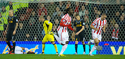 STOKE-ON-TRENT, ENGLAND - Boxing Day Wednesday, December 26, 2012: Stoke City's Kenwyne Jones celebrates scoring the second goal against Liverpool during the Premiership match at the Britannia Stadium. (Pic by David Rawcliffe/Propaganda)