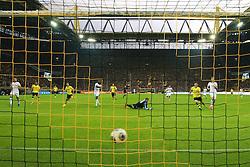"14.09.2013, Signal Iduna Park, Dortmund, GER, 1. FBL, Borussia Dortmund vs Hamburger SV, 5. Runde, im Bild Henrikh ""Micki"" Mkhihtaryan #10 (Borussia Dortmund)mit dem Treffer zum 2:0, Hintertorkamera, Remote, // during the German Bundesliga 5th round match between Borussia Dortmund and Hamburger SV at the Signal Iduna Park, Dortmund, Germany on 2013/09/14. EXPA Pictures © 2013, PhotoCredit: EXPA/ Eibner/ Joerg Schueler<br /> <br /> ***** ATTENTION - OUT OF GER *****"