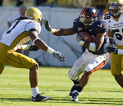 Virginia running back Cedric Peerman (37) delivers a stiff arm to Georgia Tech safety Morgan Burnett (1).  The Virginia Cavaliers defeated the #18 ranked Georgia Tech Yellow Jackets 24-17 in NCAA Division 1 Football at Bobby Dodd Stadium on the campus of Georgia Tech in Atlanta, GA on October 25, 2008.