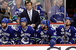 June 1, 2011; Vancouver, BC, CANADA; Vancouver Canucks head coach Alain Vigneault during the first period in game one of the 2011 Stanley Cup Finals against the Boston Bruins at Rogers Arena. Mandatory Credit: Jason O. Watson / US PRESSWIRE