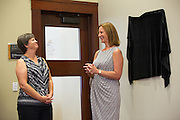 Pomeroy Principal Sheila Murphy-Brewer, right, shares a story of Austa Falconer, left, during the Rotary Club Leo B. Murphy Award ceremony for MUSD Teacher of the Year at the Milpitas Public Library in Milpitas, California, on August 31, 2015. (Stan Olszewski/SOSKIphoto)